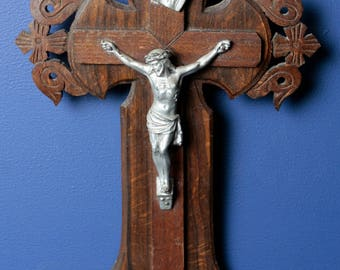 French antique carved wood wall crucifix and Holy Water font. Catholic cross. Stoup benitier