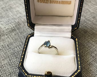 Blue Stone and Silver Heart Ring // Gift for Her