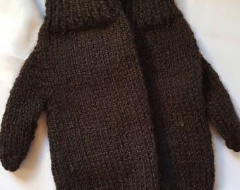 Hand Knit Alpaca Mittens - Black