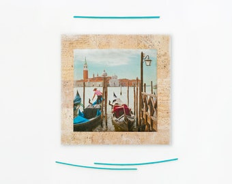 Venice print, Gondolas, Grand Canal, Venice fine art photography, Italy, Boyfriend gift, Housewarming gift, Photo on wood, 4x4, 8x8, Gift
