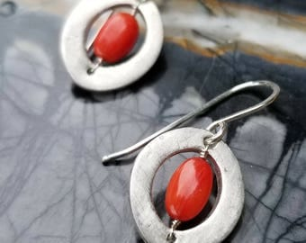 Red Coral Fine Silver Dangle Earring