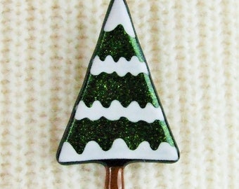 Handmade Fused Glass Christmas Snowy Tree Brooch by Jessica Irena Smith