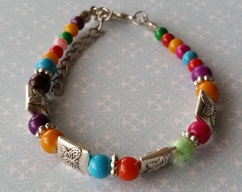 """1 - Tibetan Silver - Beaded Bracelet - 4 Butterfly Square Charms - Lobster Claw Close - Has 2"""" Adjustable Close - 9"""" Total Bracelet Length"""