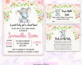 Printable Girl Elephant Floral Baby Shower Invitation, Girl Elephant Diaper Raffle, Elephant Books for baby Elephant Pink Floral BBS005-002