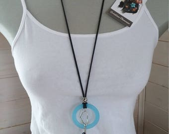 Blue and Black long necklace