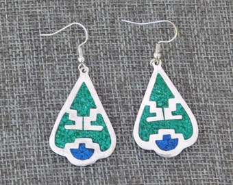 Mexico Alpaca Silver Vintage Dangle Earrings Crushed Blue & Green Stone Inlays X41