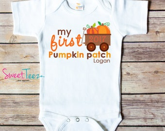 Pumpkin Patch Shirt My First Pumpkin Patch Baby Bodysuit Personalized with Name and Year Fall Wagon Infant Boy Girl