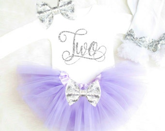 Girl 2nd Birthday Outfit Girl Second Birthday Outfit Birthday TWO Birthday Outfit Second Birthday Shirt 2nd Birthday Dress Purple and Silver