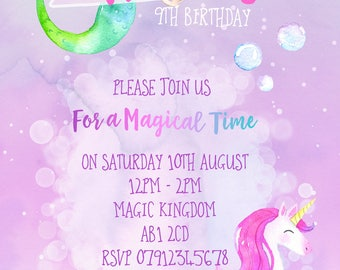 Personalised Watercolour Mermaids and Unicorns Party Invitations and Matching Envelopes x 10