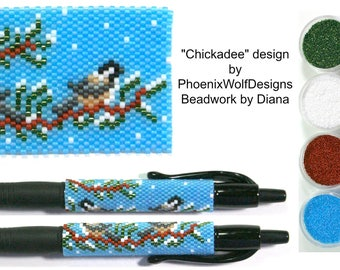 Chickadee by PhoenixWolfDesigns beaded pen kit (pattern sold separately)