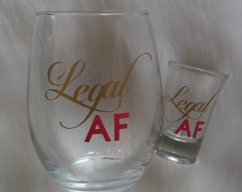 Set of 2, Legal AF Wine Glass, 21st Birthday Wine Glass, 21st Birthday Gift, Gift For Her, Finally Legal, Finally 21, Cheers to 21 Years,