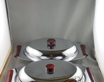 Set of 2 Mid Century Modern Glo Hill Gourmates Chrome Servers with Bakelite Handles and Knobs