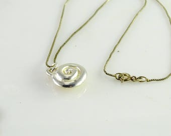 "Swirl Pendant on 16"" Chain All Sterling"