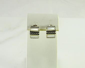 Fat Huggies with Mother of Pearl Pierced Earrings Sterling