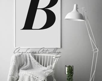 B, Letter B, Letter B Print, Letter Print, Letter, Letters, BW Letters, Single Letters, Letter B Poster, Scandinavian Print, Initials