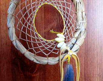 sweet grass dream catcher,handmade dream catcher,natural dream catcher,single dream catcher,feather dream catcher, dove dream web