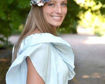 Serenity flower crown wedding ash blue floral headband bridal flowers head wreath Serenity hair dress floral crown Ready to ship