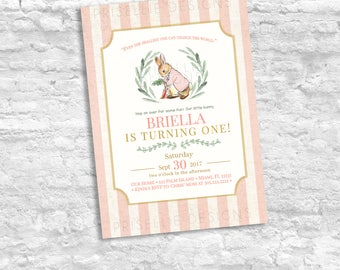 Peter Rabbit Birthday Invitation, Peter Rabbit Invitation, Peter Rabbit Theme, Classic Birthday Invitation, Peter Rabbit Girl Birthday
