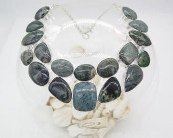 Unique Pattern Moss Agate Sterling Silver Necklace