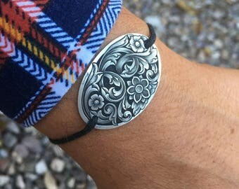 Hand-Engraved Sterling Silver Flower and Scroll Corded Bracelet