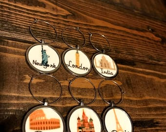 Wine Glass Charms World Travel Icon Series
