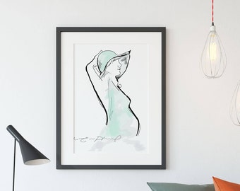 Illustration Pregnant woman / Minimalist / Contryside, modern / Turquoise and black / Purified decoration