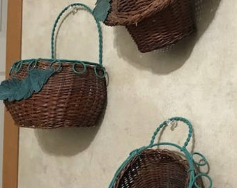 vintage set of 3 Wicker Wall Baskets with Green Metal Wall Baskets Easter Decoration