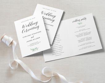 "Wedding Program Folded Template   Program Printable, Ceremony Printable   Rustic Wedding, Wedding Leaves  5x7""   No. EDN 5498"