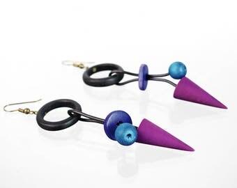 Colorful vintage wooden earrings