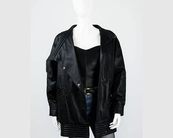 Black 80's vintage leather jacket 34