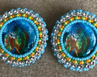 Bead Embroidered Earrings Free Shipping Available
