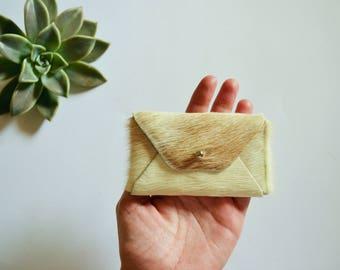 Beige hairy leather card case / Beige envelope card holder / Leather business card holder / Genuine leather