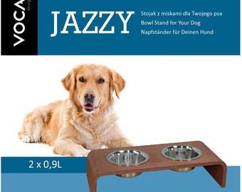 Modern cat and dog bowl stand made of plywood, pet feeder, pet bowl, stainless steel bowl, wooden pet bowls