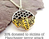 Manchester Bee necklace, Insect jewellery, Honeycomb jewelry, Insect necklace, Busy bee jewellery, Insect pendant, Queen Bee gift, Bumblebee