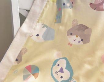 Handmade organic cotton stroller baby blanket, Boy, Girl/organic baby play mat/baby shower gift/bamboo blanket/Twinkies animal print blanket