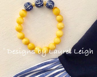 YELLOW Chinoiserie Beaded Bracelet | gemstone, navy, stretchy, blue and white, Designs by Laurel Leigh