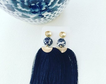 LONG NAVY BLUE Fringe Earrings | blue and white, Chinoiserie, statement earrings, gold, beaded, lightweight, posts