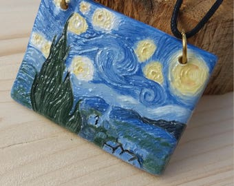 Necklace with ceramic pendant starry Night