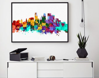 Minneapolis Skyline, Minneapolis Wall Art, Watercolour Print, Birthday Gift, Home Decor, Minnesota Art, Abstract Art Decor (N103)