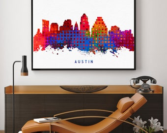 Austin Skyline Art, Austin Print, Austin Painting, Austin Poster, Watercolor Austin, Texas Art, Austin Bedroom Decor (N166)
