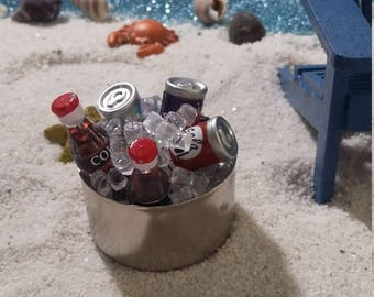 Fairy Garden Tub of Drinks, Beach Themed for Miniature Gardening,  Summer Fairy Garden, Soft Drinks (Colas) with Ice in a Silver Tub