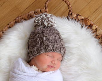 Woodland Baby Hat, Knit Baby Hat for Boy, Newborn Photo Prop Hat, Cable Baby Hat, Neutral Infant Beanie, Going Home Outfit, Baby Shower Gift