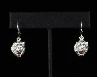 Lion Holding Red Stone in Mouth Earring in Sterling Silver