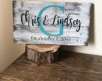 Family Established Wood Sign, First Names and Initial Sign, Wedding Present, Housewarming Gift, Wedding Gift, Engagement Gift, Last Name