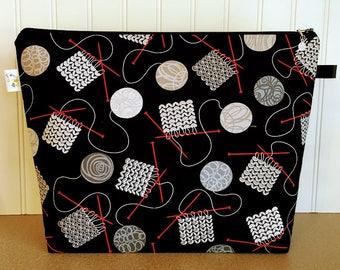 Knitting Bag, Knitting Project Bag, Large Knitting Bag, Project Bag Zipper, Yarn Bowl, Knitting Bowl, Knitting Basket, Yarn Tote