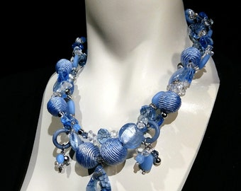 Big and bold necklace Statement choker, silk wrapped beads, crystal, glass and lucite beads Eye catcher.