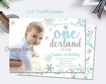 Winter Onederland Invitation, blue and silver first birthday invitation baby boy/girl winter  invitation, winter birthday, digital file.W206