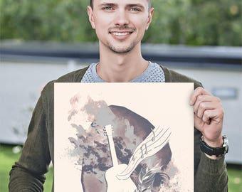 Guitar art print, music art poster, guitar digital painting