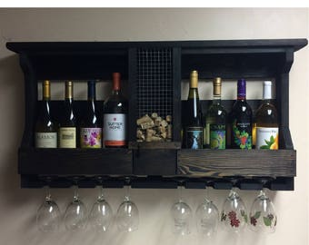 Wooden Wine Rack with Cork Holder & Wine Glass Holder and Top Display Shelf | Wall Mounted Rustic Wooden Wine Rack | Wedding Gift