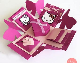 Hello Kitty Explosion Box // Hello Kitty Exploding Box // Sanrio Explosion Box // All occasion Surprise Box // Birthday Explosion Box